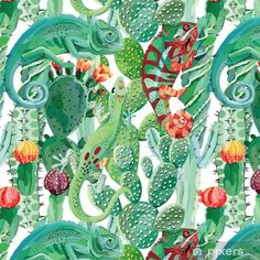 Chameleon and Cactus Digital Printed French terry Cactus, Chameleon, French Terry, Digital Prints, Plant Leaves, Wallpaper, Drawings, Pattern, Reptiles