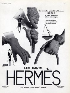 Hermès gloves ad, 1929. #vintage #1920s #gloves