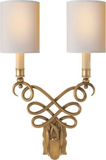 Visual Comfort Lighting Studio Catherine Wall Sconce in Hand-Rubbed Antique Brass with Natural Paper Shades Black Wall Sconce, Indoor Wall Sconces, Bronze Wall Sconce, Rustic Wall Sconces, Bathroom Wall Sconces, Candle Wall Sconces, Wall Sconce Lighting, Copper Wall, House Lighting