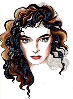 Lorde. A bit different than my usual style, but I wanted to capture this fascinating and lovely lady's appearance. Pencil, .005 pen, watercolor and black acrylic.