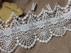 Off white color, cotton lace trim, scalloped trim, 4.9 inches wide one yard