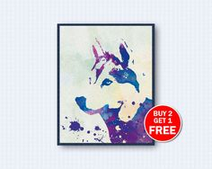 Siberian Husky Poster, Dog Watercolor, Dog Poster, Siberian Husky Watercolor, Husky Poster, Watercolor Art, Animal, Wall Decor, Head Version by TheWoodenKat on Etsy
