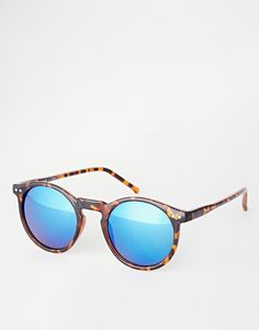 ASOS Skinny Frame Round Sunglasses With Flash Lens
