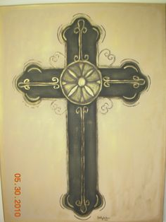 I painted this cross for our preacher when he retired. Natural Brown, Crosses, Door Handles, Arts And Crafts, Painting, Home Decor, Ideas, Door Knobs, Decoration Home