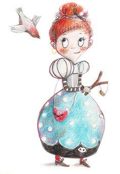 little naughty princess,  illustration by Ania Simeone