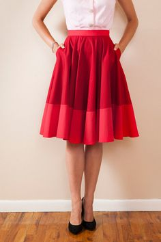 Lovely circle skirt with a lighter coloured panel sewn onto the bottom