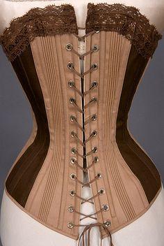 two tone brown spoon busk corset