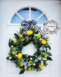 Lemon Wreath, Outdoor Wreaths, Magnolia Leaves, Lambs Ear, Patriotic Wreath, Summer Wreath, Wreaths For Front Door, Grapevine Wreath, Grape Vines
