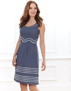 Embroidered Scallop Dress in Denim Blue by Pepperberry Clothes For Sale, Clothes For Women, Day Dresses, Summer Dresses, Scalloped Dress, Dressed To Kill, Look Fashion, Fashion Women, Summer Looks