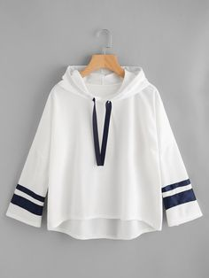 To find out about the Varsity Striped Dip Hem Hoodie at SHEIN, part of our latest Sweatshirts ready to shop online today! Fashion News, Fashion Outfits, Womens Fashion, Fashion Fashion, Fashion Sale, Fashion Trends, Mode Kawaii, Diy Vetement, Hooded Sweatshirts