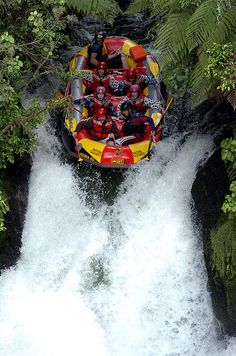 Rotorua, NZ -- went white water rafting here. 7m waterfall-- the highest commercially rafted! :)