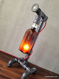 Industrial Table Lighting - Antique Bottle Lamp - Bar Decor - Steampunk Pipe Fixture