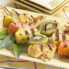 The perfect grilled dessert! Vanilla and cinnamon add sweetness while ginger and red pepper bring a surprise heat to these tropical fruit skewers.