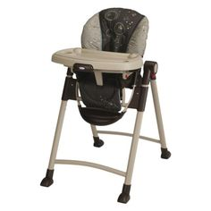 Graco Contempo Highchair - Scribbles. Folds like a dream, can be low for floor picknicks, and cleans up really nicely.