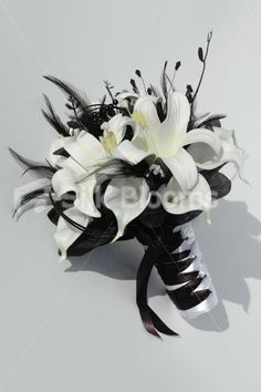 Beautiful Black White Small Bridal Bouquet w/ Lilies & Feathers