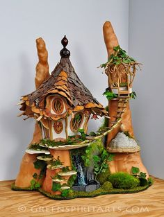 Greenspirit Arts. Fairy house with waterfall