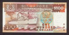 """Singapore banknotes 100 Dollars banknote Ship Series - Passenger liner """"Chusan"""" History Of Singapore, Singapore Dollar, Golden Number, Money Notes, 100 Dollar, Old Street, My Journal, Red Dots, Picture Wall"""