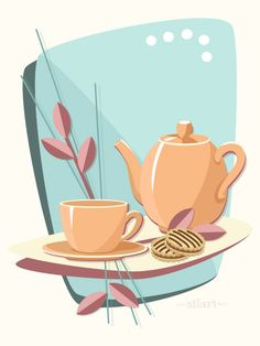 Afternoon-Tea, #vektorgrafik, #vectorillustration, #flatdesign, Vector Grafik, Digital Art, Illustration, Print, Printable, Karten, Cards, grafik design, happy draw
