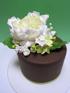 open peony cake with filler flowers.make peony smaller. out of proportion Gorgeous Cakes, Pretty Cakes, Amazing Cakes, Cupcakes, Cupcake Cakes, Fancy Cakes, Mini Cakes, Peony Cake, Cake Icing