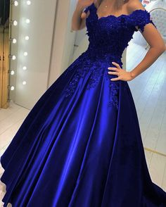 Elegant A Line Off Shoulder Satin Prom Dress With Lace Flowers