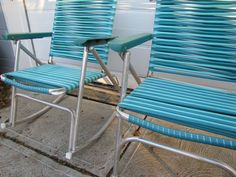 Pair of Vintage Mid Century Aluminum Folding Lawn Chairs Rocking Blue Cyan Set #Unbranded