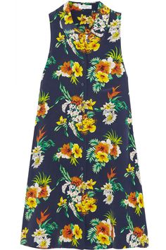 Equipment Mina Floral-Print Washed-Silk Mini Dress, $270; net-a-porter.com   - ELLE.com