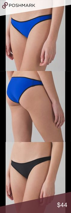 NWT Lululemon Reversible Bikini Bottom black/blue Water: Surf to Sand Reversible Bikini Bottom. Mix and match with your favorite bikini top. Wear this low-rise, reversible bikini bottom from surf to sand. Fabric is made with post-consumer waste nylon. Four-way stretch fabric has a UPF of 50+ and uses Xtra Life Lycra fiber for improved chlorine and salt resistance. Medium bum coverage keeps things under wrap on the move. Flat seams help prevent chafing. Colors: black/harbor blue. lululemon…