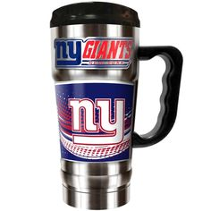 Show your school pride while enjoying your drink with the Collegiate Vacuum Insulated Travel Mug. This stainless steel design with carry handle features high-definition metallic graphics and a metal emblem of the university name and logo. Nfl New York Giants, New York Rangers, Nhl News, Insulated Travel Mugs, Stainless Steel Travel Mug, Sports Fan Shop, Champs, The Ordinary, Tumbler