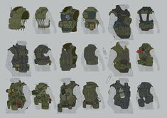View an image titled 'Vest Designs Art' in our Metal Gear Online art gallery featuring official character designs, concept art, and promo pictures. Armor Concept, Concept Art, Metal Gear Online, Character Concept, Character Art, Sci Fi Armor, Military Gear, Metal Gear Solid, Sci Fi Characters