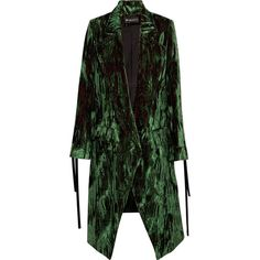 Ann DemeulemeesterCrushed-velvet Coat (€1.050) ❤ liked on Polyvore featuring green