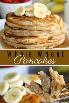 This is the best Whole Wheat Pancakes recipe - delicious and fluffy with irresistible vanilla and cinnamon. Also, it's a healthy option thanks to whole wheat flour. Trust me, you'll never make regular pancakes again when you try this better option. Whole Wheat Flour Pancakes, Pancakes Easy, Pancakes And Waffles, Breakfast Pancakes, Breakfast Time, Brunch Recipes, Breakfast Recipes, Diabetic Breakfast, Pancake Recipes