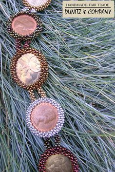 Fair Trade jewelry designs using vintage and old buttons, coins & watch faces. Green America, Trade Federation, Fair Trade Jewelry, Coin Bracelet, World Coins, Coin Jewelry, Vintage Buttons, Ribbons, Seed Beads