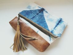 The Nicole - Shibori Indigo Fold Over Everyday Leather Clutch by FromMarfaWithLove on Etsy https://www.etsy.com/listing/226369999/the-nicole-shibori-indigo-fold-over