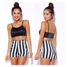 Minus the crop top [ @ ] ninzeey @modernedgefashion has new items!  striped sailor shorts  at www.modernedgeclothing.com