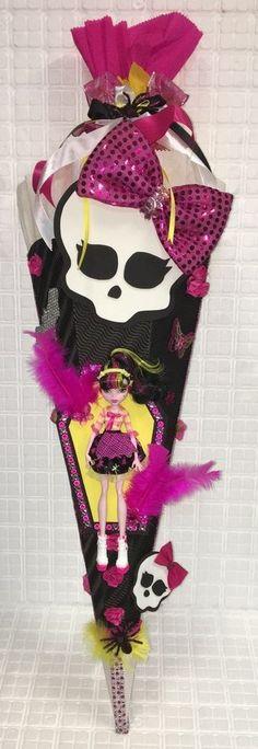 Schultüte Zuckertüte Mädchen Monster High Draculaura Handarbeit Unikat