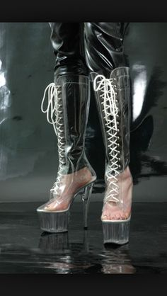These are great not sure if I'd want High Heel Boots, High Heels, Pink Raincoat, Clear Shoes, Plastic Shoes, Rain Wear, Cool Boots, Me Too Shoes, Combat Boots