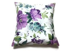 $20.00 Etsy Its a beauty! This lovely decorative pillow cover in shades of purple, chartreuse, teal, green and white, will be a great addition to spruce up
