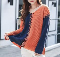 Womens lace up sweater color block knit jumpers V neck