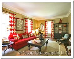 living room with red couch