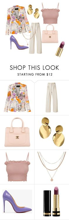 """""""Stripes and Flowers!"""" by pamtasticpam on Polyvore featuring Les Copains, Erika Cavallini Semi-Couture, Chanel, Kate Spade, Luv Aj, Christian Louboutin and Gucci"""