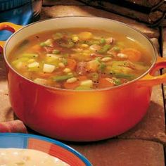 Ham and Vegetable Soup with veggies.  add summer savory.