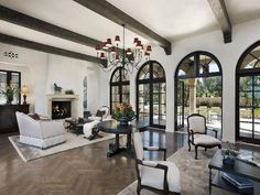 We could divide the room up like this. Modern Mediterranean: Living Room