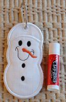 """In The Hoop :: Key Rings, Key Fobs :: Snowman Key Ring Chapstick Holder - Embroidery Garden 