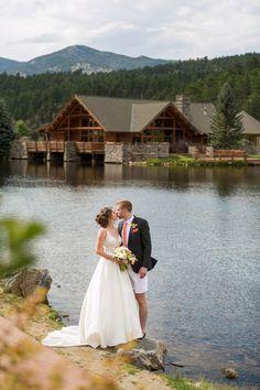 Preppy wedding couple on the lake