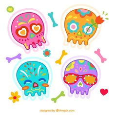 Colorful mexican skulls Free Vector