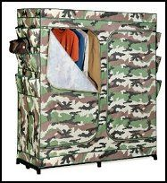 Camouflage is the granddaddy of all storage closets now comes in CAMO! This amazing wardrobe measures a gargantuan 60-Inch wide while offering the convenience of two D-style zipper doors. Storage for all of your dresses, shirts, pants and other items will be so easy, youll have no excuse to shop for more. The durable, non-woven cover protects all of your garments and the high-capacity steel rod will keep them organized. Backed by a limited lifetime warranty,