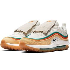 "A Major Release Now Available 🔥 In golf, a little bit of luck can be a game changer. Introducing #NikeGolf Limited Edition ""Rather Lucky Than Good"" #AirMax97G, designed to bring good luck to the green. 🔥☘️🧡 • Ft. corduroy upper, removable kiltie & green coloured full length air bag 💚🏌🏼‍♂️ Limited quantities. Shop now at #eGolfMegastore. #ratherluckythangood #nikeratherlucky #themasters #nikemasters #nikegolfshoes #egolf"