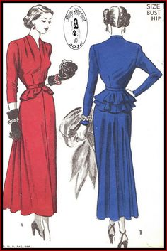 Advance 4988-1948  Vintage Sewing Patterns  Advance 1940s Dresses Evening Funnel Neck Slit Neckline Dart tucks Belts Detachable Peplum Peplum Flounce Layered Pleats Long Sleeves Three-quarter Sleeves Short Sleeves Gored Skirts