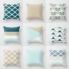 Throw Pillow Covers, Accent Pillow Cover, Teal Tan White Light Blue, Home Decor, Decorative Pillow Covers Decorative Pillows – accent pillow living room Teal Cushions, Teal Throw Pillows, Diy Pillows, Throw Pillow Cases, Accent Pillows, Cushion Covers, Pillow Covers, Blue Home Decor, Pillow Cover Design