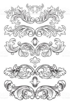 decorative elements set - decorative elements set You are in the right place about decorative elements set Tattoo Design And S - Tattoo Drawings, Art Drawings, Tattoos, Filigree Tattoo, Ornament Drawing, Leather Tooling Patterns, Engraving Art, Carving Designs, Filigree Design